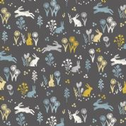 Grove by Makower UK - 6746 - Rabbits and Flowers on Black - 2163_S - Cotton Fabric